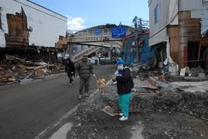 避難生活中愛犬との散歩が唯一の楽しみ2011年4月